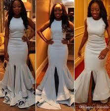 dh prom dresses 2017 split ivory satin nigeria prom dresses cheap