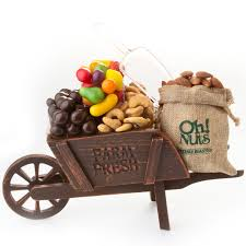 oh nuts purim baskets purim shalach manos rustic charm wooden wheelbarrow gift basket