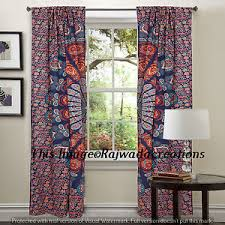 Boho Window Curtains Peacock Mandala Window Curtains Indian Drape Balcony Room Decor