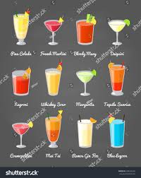 martini sour collection popular alcoholic drinks including pina stock vector