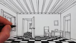 Interior House Drawing How To Draw A Room In 1 Point Perspective Narrated Drawing Youtube