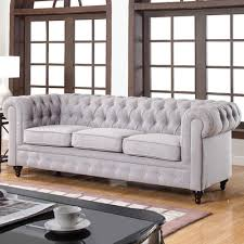 Chesterfield Sofas Usa Home Usa Classic Tufted Linen Fabric Chesterfield Sofa