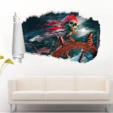 pirate home decor skeleton pirate 3d torn hole ripped wall sticker decal home decor