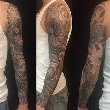 tattoo japanese koi sleeve black grey flowers japanese koi sleeve tattoo slave to the needle