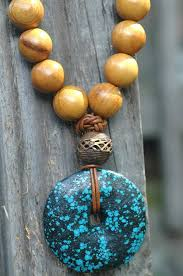 long wood bead necklace images Long wood bead leather and tribal bohemian turquoise pendant necklace jpg