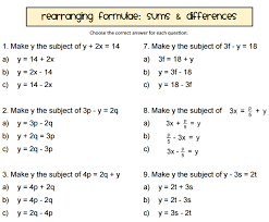 rearranging equations worksheet