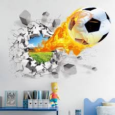 nursery wall stickers amazon co uk 3d football wall stickers living room bedroom decal cartoon boys teens kids children room wall art murals wallpaper poster