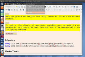 curriculum vitae latex template moderncv tutorial how to use lyx to write cv on ubuntu youtube