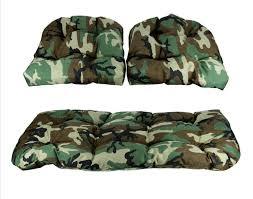amazon com 3 piece tufted wicker furniture patio cushion set
