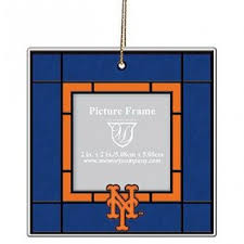york mets glass frame ornament