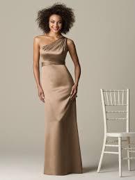 champagne column one shoulder zipper floor length bridesmaid