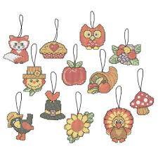 herrschners and cozy autumn ornaments counted cross stitch