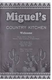 miguel u0027s country kitchen u2013 hondo menus
