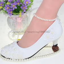 wedding shoes size 11 3 4 heel white ivory lace pearls wedding shoes pumps
