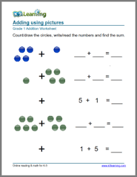 1st grade math worksheet addition with pictures or objects k5
