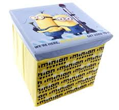 brand new despicable me minion yellow ottoman storage toy box and