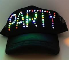 beanie with led lights buy black party hat with led lights blinking the word party in