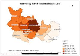 Nepal Map World by Death Toll Map U2013 Nepal Earthquake 2015 Till 4 28 2015