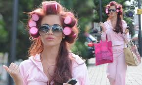 husband forced to sleep in hair rollers amy childs sports sleep in rollers as she runs errands daily