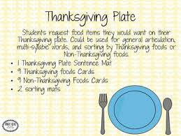 my thanksgiving plate speech language freebie tpt