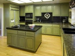 Alluring  Kitchen Cabinets Painted Green Design Decoration Of - Olive green kitchen cabinets