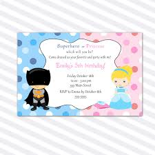 Personalized Birthday Invitation Cards Princess Birthday Invitation Card Superhero Siblings