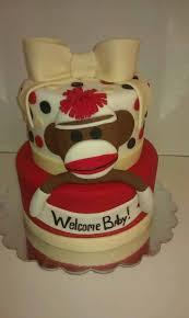 sock monkey baby shower cake 3381