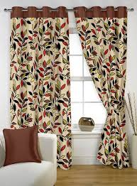 Arabic Curtains Story At Home Mixed Floral Pattern Brown Pair Curtain Panels