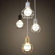 white and gold pendant light vintage single head black white silver gold pendant light iron cage