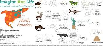 animals of north america for the montessori wall map montessori