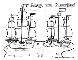 a small pirate ship in the sea coloring page pirate ship coloring