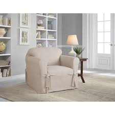 Sure Fit Cotton Duck T Cushion Sofa Slipcover by Serta Relaxed Fit Cotton Duck Furniture Slipcover Chair 1 Piece