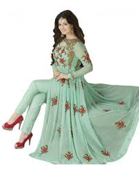 justkartit ayesha takia pista green color semi stitched embrodiery