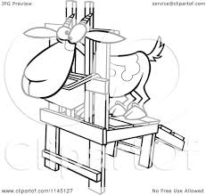 milk coloring pages cartoon clipart of a black and white goat in a milk stand vector