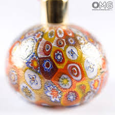 bottle perfume atomizer gold millefiori different sizes and