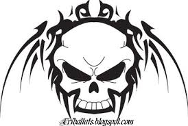 amazing black tribal skull tattoo design