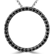 black diamonds necklace images 1 5 ctw black diamond circle of life pendant necklace in 14k white jpg