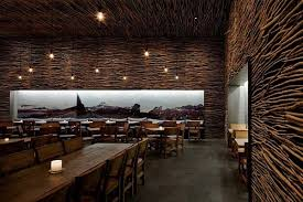 fantastic picket concrete and twigs restaurant design in new york