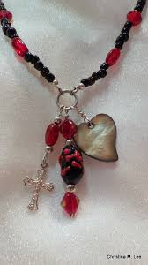 red necklace pendant images Black red necklace with 3 charm dangles jpg