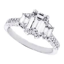 three emerald cut engagement rings engagement ring three emerald cut engagement ring