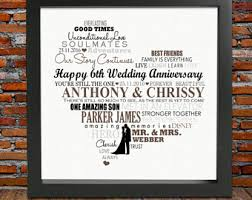 6th anniversary gifts for framed personalized 6th wedding anniversary gift 6th