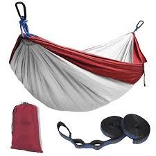 kootek red lightweight nylon parachute hammocks portable double