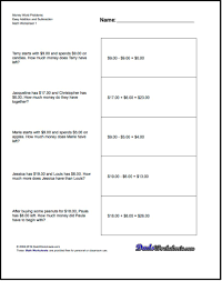addition worksheet and subtraction worksheet money word problems