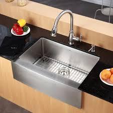 Space Saving Kitchen Sinks by Kraus 33 Inch Farmhouse Apron Single Bowl 16 Gauge Stainless Steel