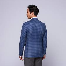 trend maxman wool two button slim fit sportcoat blue check