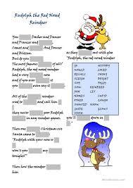 rudolph the red nosed reindeer worksheet free esl printable