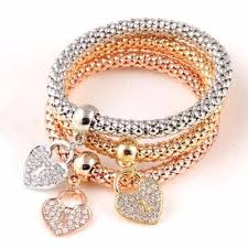 bracelet elastic heart images 3 pcs set crystal bracelet bangle multiple shape elastic heart jpg