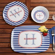 personalized dinnerware personalized melamine dishes nautical design