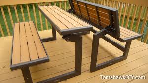 Make Your Own Picnic Table Bench by Awesome Convertable Picnic Table Bench Review Youtube