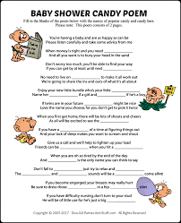 baby shower candy poem game